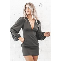Watch Me Black Puff Sleeve Mini Dress