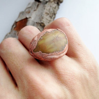 Stone Ring - Unique Stone Ring - Raw Stone Ring - Copper Ring - Statement Ring - Large Ring - Gift for Her - Gift for Woman - SIZE 5.5