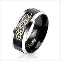 Centered Tribal Inlay Two Tone Black IP Band Men's Ring Stainless Steel