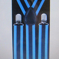 Unisex Men's Women's Goth Black Blue Stripes Adjustable Suspenders-New in Pkg!