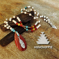 Native american feather, red agate luck & love neclace, hippie boho jewelry