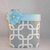 Gray, White And Mint Green Fabric Basket With Detachable Fabric Flower Pin For Storage Or Gift Giving