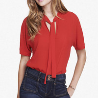 ENGINE RED TIE FRONT SHORT SLEEVE BLOUSE from EXPRESS