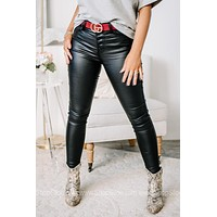 Taking Steps Forward Faux Leather Black Skinny Jeans