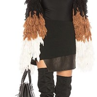 Open Front Fringed Detail Throughout Shaggy Coat