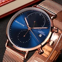 WAKNOER Brand Luxury Watch Men Wristwatch Mesh Band Men's Watches