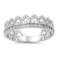 925 Sterling Silver CZ Simulated Diamond Royal Crown Designer Ring 6MM