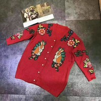 """Gucci"" Women Flower Rabbit Tiger Head Embroidery Knit V-Neck Long Sleeve Pearl Buttons Sweater Cardigan Coat"