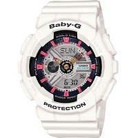 Casio Ladies Baby-G Analog-Digital - White - Black & Pink Accents - 3D Dial