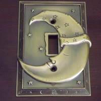 Moon Light Switch Cover Plate, Celestial Home Decor, Cast Brass Metal