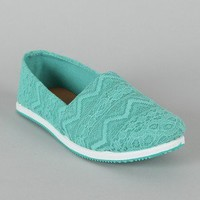 Qupid Pam-03A Lace Round Toe Loafer Flat