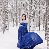 Claire Royal blue chiffon maternity gown with closed front and long sleeves/maternity dress/bridal gown/senior gown/prom dress/bridal gown