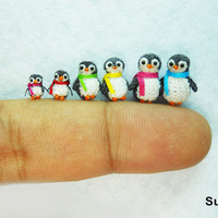 Micro Penguin Family - Tiny Miniature Penguins - Set of Six Penguin Chicks - Made To Order