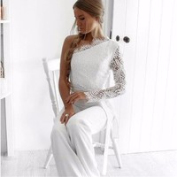 BEFORW 2018 Super Fashion Women Off Shoulder Jumpsuits Lace Patchwork Embroidery Sexy Party Jumpsuit Rompers Ladies Bodysuits