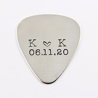 Custom, Hand stamped Guitar Pick with initials and date
