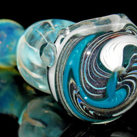 Sparkly Mettalic Reversal Spoon Pipe Silver Fumed Glass Smoking Bowl Hand Blown Thick Color Changing Glass w/ Blue White & Gunmetal Wig Wag