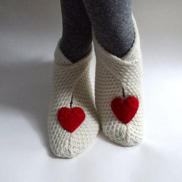 Heart Slippers House Shoes Womens Slippers Socks by fizzaccessory