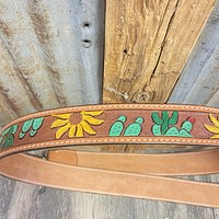 Cactus & Sunflower Tooled Leather Strap