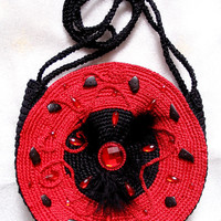 """Elegant double-side round bag """"Red and Black"""", hand knited,gift for her"""