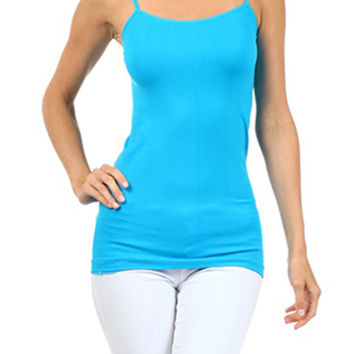 Turquoise Spagetti Strap Seamless Cami Tank Top