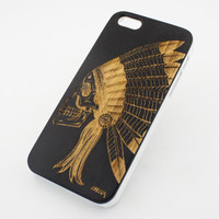 Black Bamboo Wood Case - Chief Indian Skull