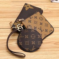 Louis Vuitton LV hot sale three-piece coin purse, key case, clutch bag, fashion lady's three-piece coin purse