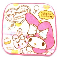 Tiny My Melody Bunny Rabbit Print Handkerchief Face Towel in Pale Pink