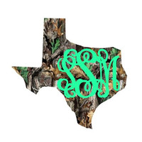 Monogram Texas State Home Decal Real Tree Pattern Any State, Sticker,  Car Decal,  Yeti Decal Custom Decal - Texas Louisiana and More!