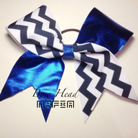 Blue and Chevron Cheer Bow