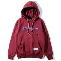 Champion Fashion Embroidery Hooded Sweater Sweatshirt Top
