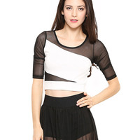 Black and White Color Block Mesh Crop Top