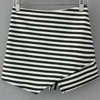 Black and White Striped Mini Skirts
