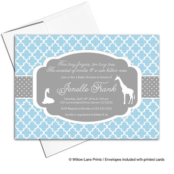 Safari baby shower invitations for boys in blue gray | giraffe baby shower invites | baby shower ideas | printable or printed - WLP00724