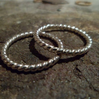 Authentic Navajo Native American Southwestern sterling silver cable rope braid and plain band stacking,knuckle,or pinky rings