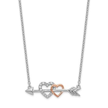 14k Two-Tone Gold Real Diamond Hearts on Arrow 18in Necklace