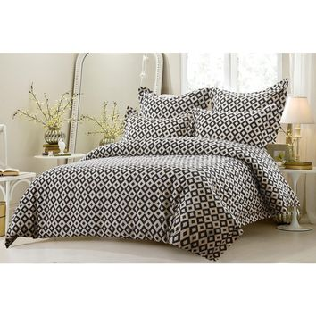 5PC BLACK AND WHITE SQUARES DUVET COVER SET STYLE # 1017 - CHERRY HILL COLLECTION