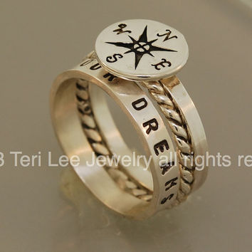 Compass Personalized Stacking Rings