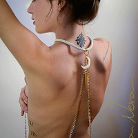 Body chain Hecate impressive avant garde statement gold plated white crescent moon mysticism high priestess fetish like white gold necklace