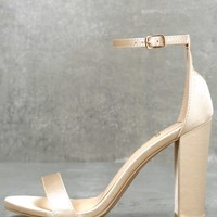 Taylor Champagne Satin Ankle Strap Heels