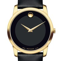 Men's Movado 'Museum' Leather Strap Watch, 40mm