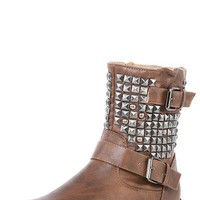Nature Breeze Harley16 Tan Studded Buckle Mid Calf Boots and Shop Boots at MakeMeChic.com