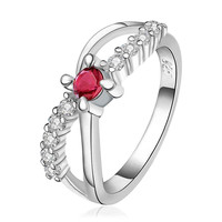 Hot Fashion silver plated rings for men Insets 8word ruby ring men collier plastron femme HBR023