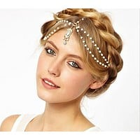 The same paragraph retro Gothic diamonds luxury acrylic hair chain head chain