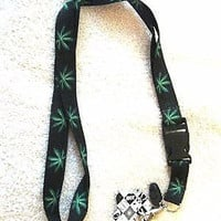"Black w/ Green Pot/Weed/MJ Leaves 15"" lanyard for ID Holder + Mobile Devices-New"
