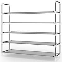 Awenia 5 Tiers Shoe Rack Organizer 30 Pairs,Adjustable Shoes Shelf Tower Metal Tall for Closet with Spare Parts,DIY Assembly, Gray