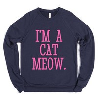 Cat Person I'm A Cat Meow Sweatshirt Sweater Hot Pink Art