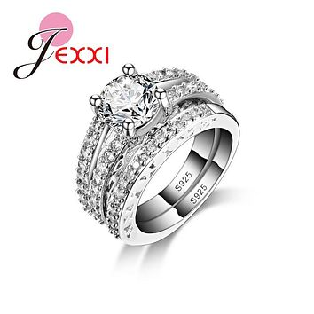 JEXXI Band Jewelry Ring Simple Elegant 925 Sterling Silver Wedding Engagement Ring Set For Women Fashion Bridal Bijoux