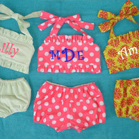 Personalized Monogrammed Handmade Toddler Girl's Two-Piece Bikini Swimsuit