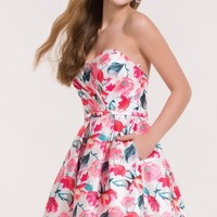 Alyce 3709 Pink Floral Print Dress with Bow Waist