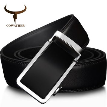 COWATHER Automatic Buckle Metal Men's Belt Genuine Leather High grade Fashion style